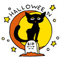 Happy Halloween cartoon icon with black cat Royalty Free Stock Photo