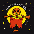 Happy Halloween cartoon icon with scarecrow Royalty Free Stock Photo