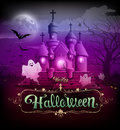 Happy halloween castle classic design Royalty Free Stock Photo