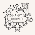 Happy Halloween countour outline doodle. Ghost, bat, pumpkin, spider, monster set. Cloud frme. White background Flat design