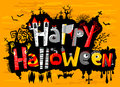 Happy halloween cute card lettering Royalty Free Stock Photo