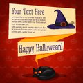 Happy halloween cute retro banner craft paper on the texture with black cat and witch hat with greeting and place for Royalty Free Stock Images