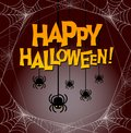 Happy Halloween with dangling spiders and spooky spider web frame. Royalty Free Stock Photo