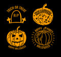 Happy Halloween design collection. Black badges and labels set with text inside. Royalty Free Stock Photo