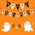 Happy Halloween. Flying ghost spirit holding bunting flag Boo. Two white scary ghosts. Cute cartoon spooky character. Smiling face Royalty Free Stock Photo