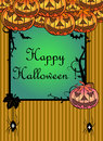 Happy halloween frame with evil pumpkins spiders and bats Stock Image