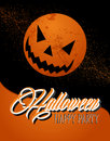 Happy halloween full moon and pumpkin illustration eps file lantern text banner with grunge background vector organized in layers Royalty Free Stock Photography