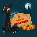 Happy Halloween, graphic background with cartoon witch casts spells in front of magic cauldron