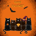 Happy Halloween greeting card design with cute cartoon black cats. Royalty Free Stock Photo