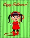 Happy Halloween greeting card of little cute naughty baby girl in red devil costume