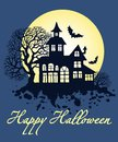 Happy Halloween greeting card, vector illustration Royalty Free Stock Photo