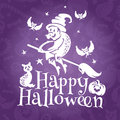 Happy halloween greeting vector card with old ugly witch Royalty Free Stock Photography
