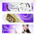 Happy Halloween horizontal banner. The night sky Stock Photo