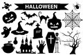 Happy Halloween icons set, black silhouette style. Isolated on white background. Halloween collection of design elements