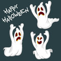 Happy halloween illustration of background with funny ghosts Royalty Free Stock Images