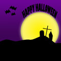 Happy halloween illustration a square layout with silhouettes of creepy items text over moon reads Stock Photography