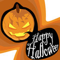 Happy halloween illustration of title and a lantern Stock Photography