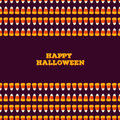 Happy Halloween inscription with horizontal seamless border made of small candy corns. Holiday trick or treat concept