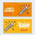 Happy Halloween invitation design with magic stick vector
