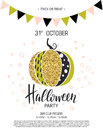 Happy Halloween. Invitation to party with cute glamorous sparkling pumpkin. Vector illustration. Design for greeting