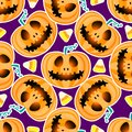 Happy Halloween jackolantern seamless pattern. Jack lantern Vector illustration isolated on purple background. Royalty Free Stock Photo
