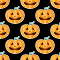 Happy Halloween jackolantern seamless pattern. Jack lantern with easy. Vector illustration isolated on black background. Royalty Free Stock Photo