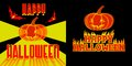 Happy halloween label with pumpkin bats fire and lights Stock Photos