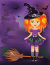 Happy halloween little witch vector illustration Stock Photo