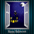 Happy halloween looking through the window at a haunted house card in vector format Royalty Free Stock Photography