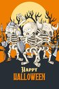 Happy Halloween postcard template. Party of skeletons in different poses