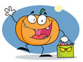 Happy halloween pumkin with bag Stock Image