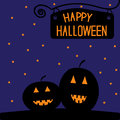 Happy halloween pumpkin card starry night vector illustration Royalty Free Stock Image