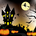 Happy Halloween and Pumpkin, Witch, Bats, Objects in moon night on black sky.