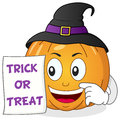 Happy Halloween Pumpkin with Witch Hat Royalty Free Stock Photo