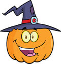 Happy halloween pumpkin with a witch hat cartoon mascot illustration Stock Images