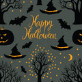 Happy halloween pumpkins and bats black trees on a dark background calligraphy symbols of Stock Images