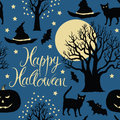 Happy halloween pumpkins bats and cats black tr trees a bright moon on a blue background calligraphy symbols of Royalty Free Stock Photo