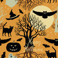 Happy halloween pumpkins bats and cats black tr trees a bright moon on a yellow background calligraphy symbols of Stock Photos