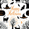 Happy halloween pumpkins cats and bats black tr trees on a dark background calligraphy symbols of Royalty Free Stock Image