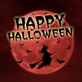 Happy halloween on red moon with witch greeting card Royalty Free Stock Images