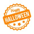 Happy Halloween rubber stamp orange on a white background.