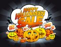Happy halloween sale vector banner with pumpkins crowd and speech bubbles Royalty Free Stock Photo
