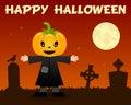 Happy Halloween Scarecrow & Cemetery Royalty Free Stock Photo