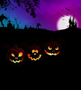 Happy Halloween Scary Night Party Concept with Pumpkins Royalty Free Stock Photo