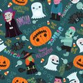 Happy halloween seamless pattern cute vector background with dracula zombie witch ghost pumpkin Royalty Free Stock Images