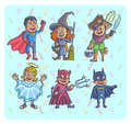 Happy halloween. Set of cartoon cute children in different costumes batman Royalty Free Stock Photo