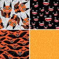 Happy Halloween set of four seamless patterns. Bats, monsters Royalty Free Stock Photo