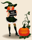 Happy halloween sexy witch and pumpkin vector illustration Royalty Free Stock Photos