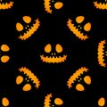 Happy Halloween silhouette easy jackolantern seamless pattern. Vector illustration isolated on black background. Royalty Free Stock Photo