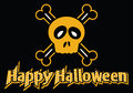 Happy halloween skull and crossbones dotted text with Royalty Free Stock Photo